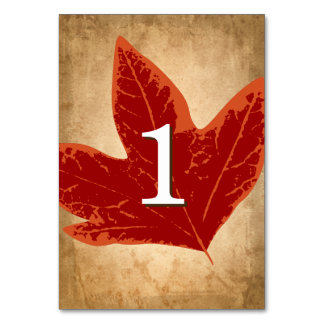 Red Autumn Leaves Table Numbers | Fall Wedding