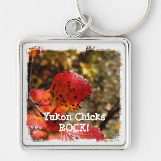 Red Autumn Leaves; Yukon Chicks ROCK Silver-Colored Square Key Ring