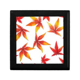 Red Autumn Maple Leaves Keepsake Box