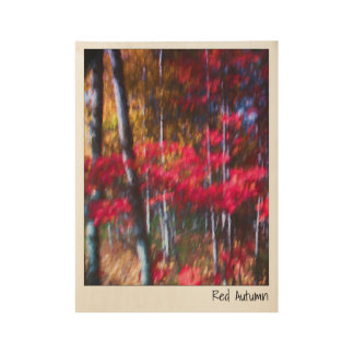 Red Autumn Maple Leaves Painting Wood Poster