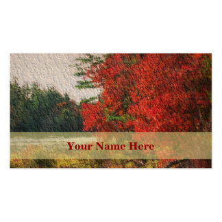 Red Autumn Trees Painting Nature Business Card