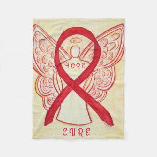 Red Awareness Ribbon Angel Blood Cancer Blanket