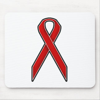 Red Awareness Ribbon Mouse Pad