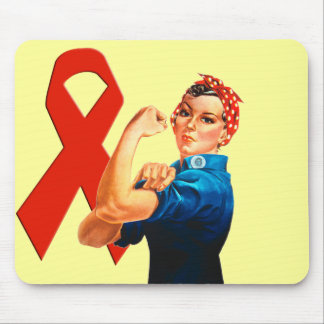 Red Awareness Ribbon Rosie the Riveter Mouse Pad