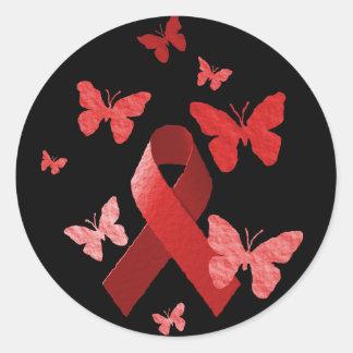 Red Awareness Ribbon Round Sticker