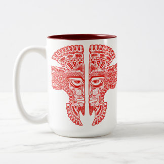 Red Aztec Twins Two-Tone Mug