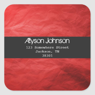 Red Background Address Labels Square Sticker