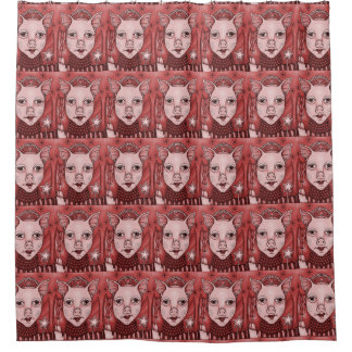 Red Bacon Fairy Princess Shower Curtain