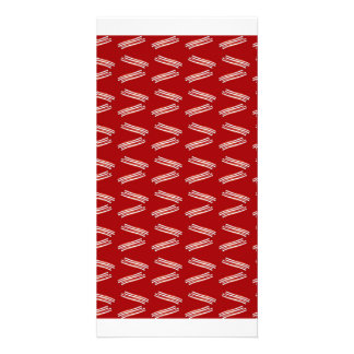 Red bacon pattern photo card template