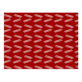 Red bacon pattern postcard