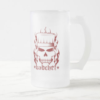Red Badchef Frosted Glass Mug