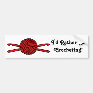 Red Ball of Yarn & Crochet Hooks Bumper Sticker