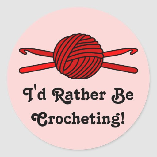 Red Ball of Yarn & Crochet Hooks (Red Background) Sticker