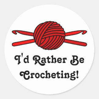 Red Ball of Yarn & Crochet Hooks Round Sticker