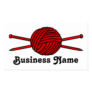 Red Ball of Yarn & Knitting Needles Business Card