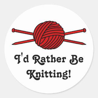 Red Ball of Yarn Knitting Needles Round Stickers