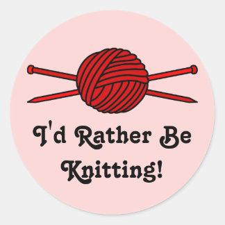 Red Ball of Yarn Knitting Needles Sticker