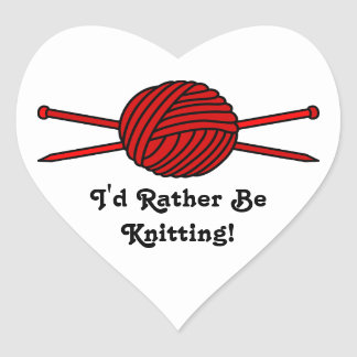 Red Ball of Yarn Knitting Needles Stickers