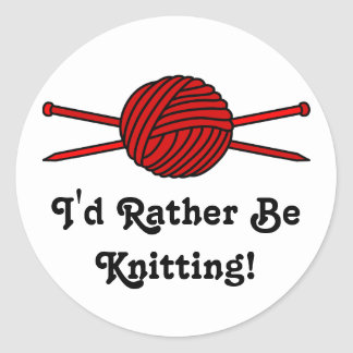 Red Ball of Yarn Knitting Needles Round Stickers