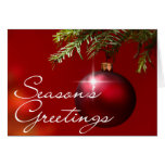 Red Ball Ornament • Season's Greetings Greeting Cards