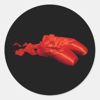 Red Ballet Shoes Round Sticker