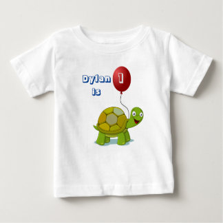Red Balloon and Turtle Baby Birthday T-Shirt