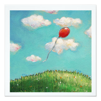 "Red Balloon blue sky beautiful day fun party art 5.25"" Square Invitation Card"