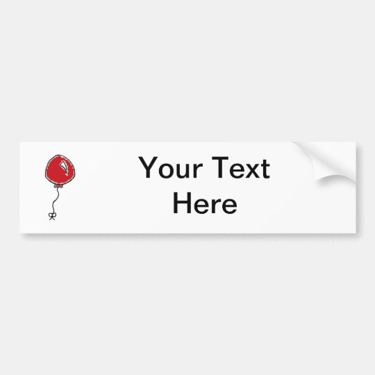 Red Balloon Cartoon Design Bumper Sticker
