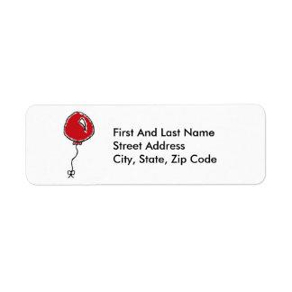 Red Balloon Cartoon Design Return Address Label