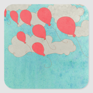 Red Balloons Square Sticker