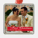 Red band couple first Christmas square photo Silver-Colored Square Decoration