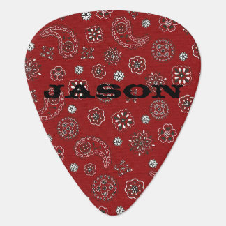 Red Bandana Pattern Guitar Pick