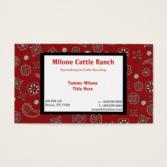 Red Bandanna Business Card with 2 Custom Sides