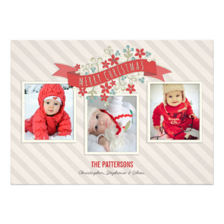 Red Banner Merry Christmas 3 Photo Card