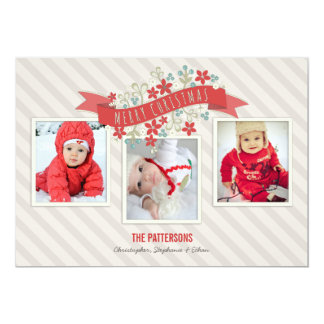 Red Banner Merry Christmas 3 Photo Card 13 Cm X 18 Cm Invitation Card