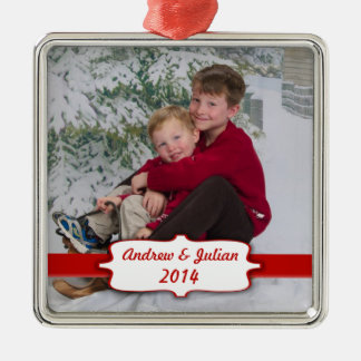 Red Banner Photo Ornament