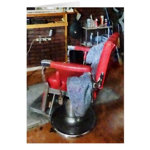 Red Barber Chair Card