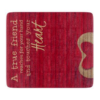 RED BARN - A True Friend - Glass Cutting Board