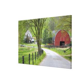 Red barn and farm house near Berlin, Ohio. Canvas Print