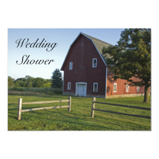 Red Barn and Fence Couples Country Wedding Shower Card