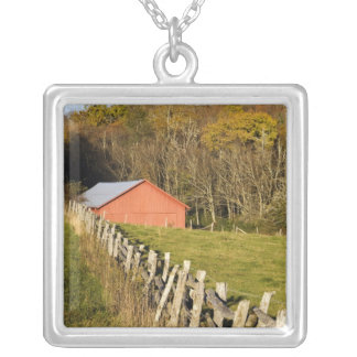 Red barn and fencerow along the Blue ridge Silver Plated Necklace