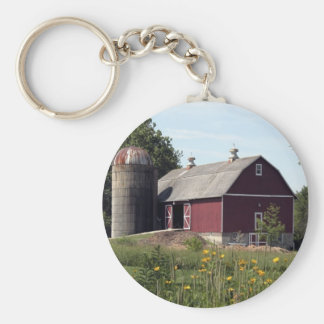 Red Barn and Silo Basic Round Button Key Ring
