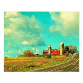 Red Barn Blue Sky Photographic Print