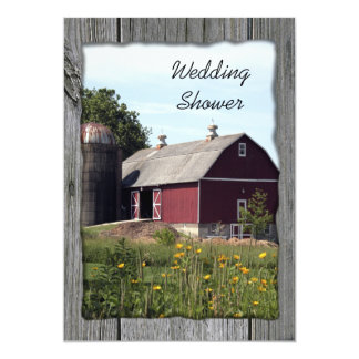 Red Barn Country Couples Wedding Shower 13 Cm X 18 Cm Invitation Card