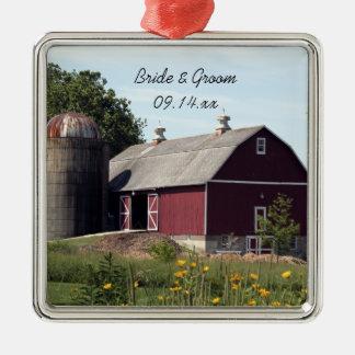 Red Barn Country Wedding Christmas Ornament