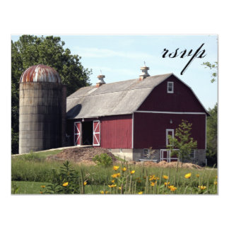 Red Barn Country Wedding RSVP Response Card