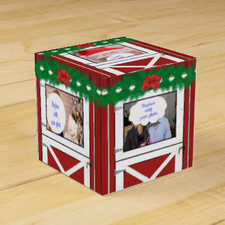 Red Barn Door 5 Photo Custom  Gift/Favor Box