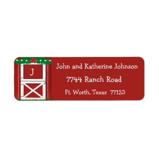 Red Barn Door Custom  Holiday Return Address Label