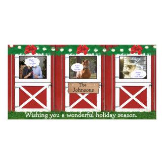 Red Barn Door Custom Photo Card ( 3 door) #2