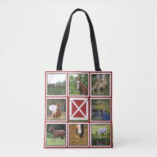 Red Barn Door  Custom Photo Tote Bag Horse